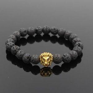 Black Lava Bead and Golden Lion head bracelet